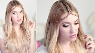 Перламутровый цвет волос, средневековая прическа на длинные волосы