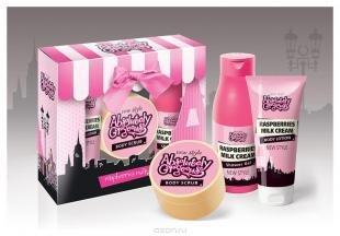 """Гель-скраб для тела, absolutely gorgeous подарочный набор """"raspberries milk cream"""" (гель для душа, 500 мл + молочко для тела, 200 мл + скраб для тела, 200 мл)"""