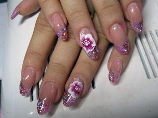 Розовый френч, красивый маникюр для нарощенных ногтей