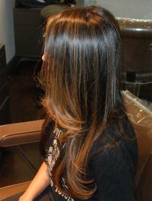 Цвет волос темный шатен, мелирование балаяж на темные волосы