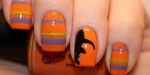 Оранжевый маникюр, модный маникюр на хэллоуин