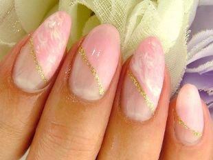 Красивые ногти френч с рисунком, свадебный косой розовый френч