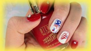 Маникюр с флагами, дизайн ногтей с американским флагом