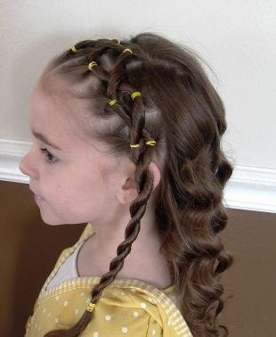 Быстрые прически на длинные волосы, детская прическа с косой