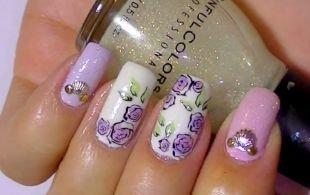 Сиреневый маникюр, цветочный маникюр на длинные ногти
