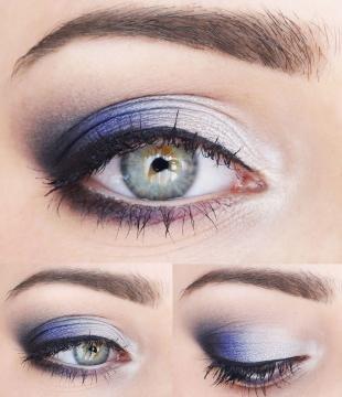 Вечерний макияж под синее платье, макияж для зелено-голубых глаз