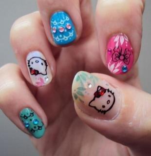 Рисунки с кошками на ногтях, детский маникюр hello kitty