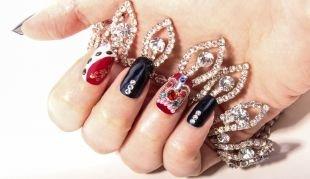 Рисунки на красных ногтях, рисунки на ногтях с использованием декора