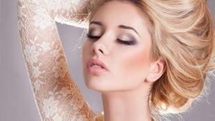 Макияж для зеленых глаз, свадебный макияж для блондинки