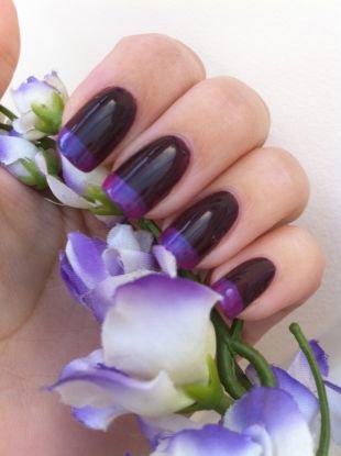 Простой дизайн ногтей, фиолетово-черный френч шеллак