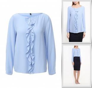 Голубые блузки, блуза united colors of benetton, осень-зима 2016/2017