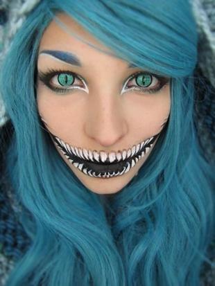 Легкий макияж на хэллоуин, макияж чеширского кота на хэллоуин