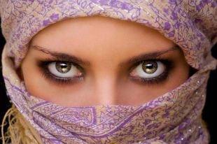Темный макияж для серых глаз, восточный макияж