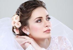 Свадебный макияж для шатенок, свадебный макияж для зеленых глаз и темно-русых волос