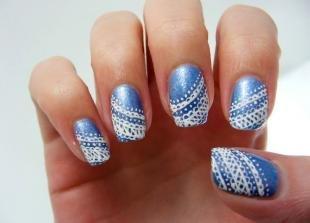 Ажурные рисунки на ногтях, оригинальный дизайн маникюра для коротких ногтей