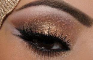 Макияж для карих глаз под зеленое платье, бронзовый арабский макияж