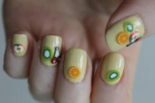 Рисунки на квадратных ногтях, фрукты на ногтях