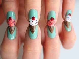 """Легкие рисунки на ногтях, бирюзовый маникюр """"мороженое"""""""