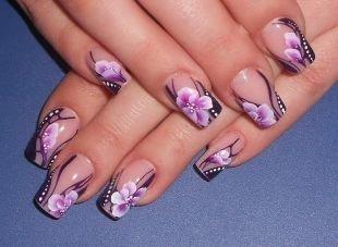 Необрезной маникюр, китайская роспись на ногтях - пионы