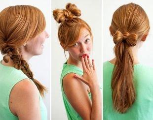 Прически с челкой на длинные волосы, прическа бант из волос