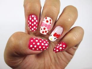 Рисунки на ногтях шеллаком, маникюр для подростков hello kitty