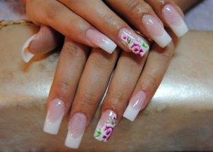 Бело-розовый маникюр, китайская роспись на ногтях - раскрытый цветок