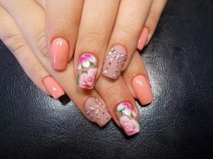 Китайская роспись ногтей, маникюр на выпускной под коралловое платье