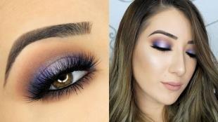 Свадебный макияж с фиолетовыми тенями, красивый макияж на выпускной