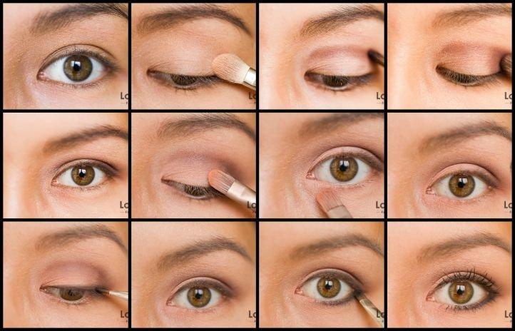 Классический свадебный макияж «банан» для карих глаз